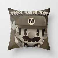 mario bros Throw Pillows featuring Mario Bros Fan Art by danvinci