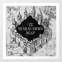marauders Art Prints featuring Marauders Map by bimorecreative