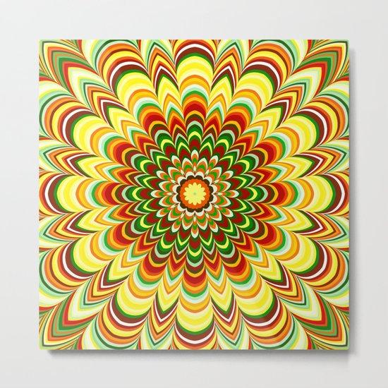 Colorful flower striped mandala Metal Print