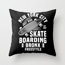 New York City Skateboarding Skating Throw Pillow