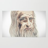 da vinci Area & Throw Rugs featuring Leonardo da Vinci Colorful by André Minored