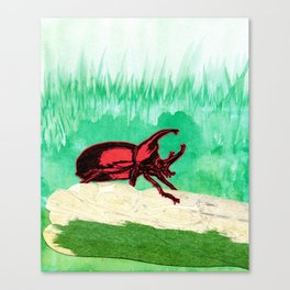 Rhinoceros Beetle Watercolour Collage Canvas Print