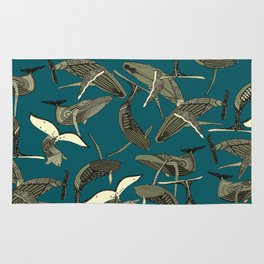just whales blue Rug