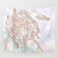 lolita Wall Tapestries featuring Lionhead Lolita by Katherine Rose