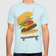 Burger Wipe-out SMALL Light Blue Mens Fitted Tee