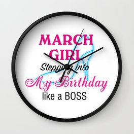 March Girl Birthday Wall Clock