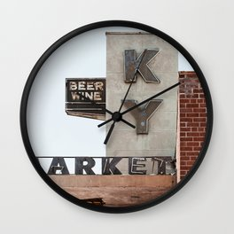 Vintage Neon Sign - KY Market - Tucson Arizona Wall Clock
