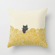 Cat and Yarn Throw Pillow