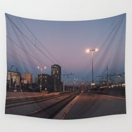 Sunset railway town Wall Tapestry