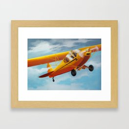 Yellow Plane, Blue Sky Framed Art Print