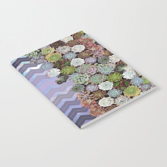 Lavender Opal & Succulent Chevron  Notebook