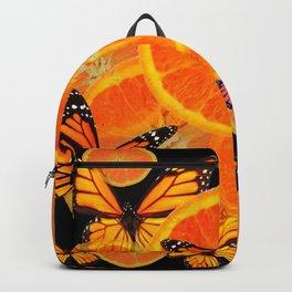 ORANGES & MONARCH BUTTERFLIES ON BLACK Backpack