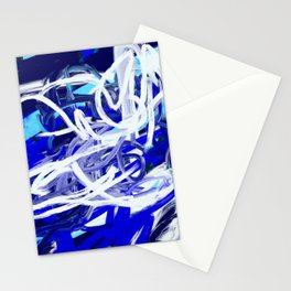 Blue & White Abstract Stationery Cards