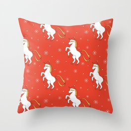 cute cartoon christmas pattern background with unicorn with santa hat Throw Pillow