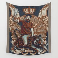 tigers Wall Tapestries featuring Yeti, King of the Tigers.  by Matt Austin