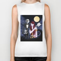 nightmare before christmas Biker Tanks featuring The Nightmare Before Christmas by Cécile Appert