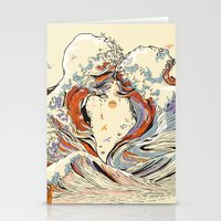 old Stationery Cards featuring The Wave of Love by Huebucket