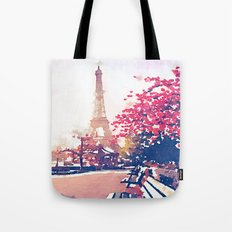 The Eiffel Tower in the Fall Watercolor Painting Tote Bag