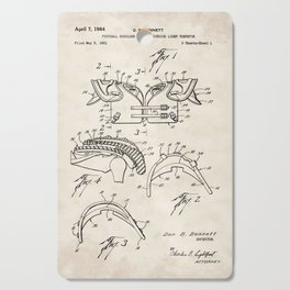 Football Shoulder Pad Vintage Patent Hand Drawing Cutting Board