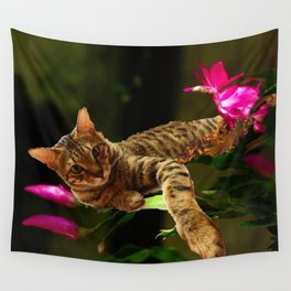 Bengal Cat Resting on Flowers Wall Tapestry