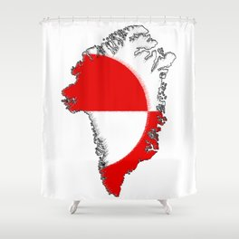 Greenland Map with Flag Shower Curtain