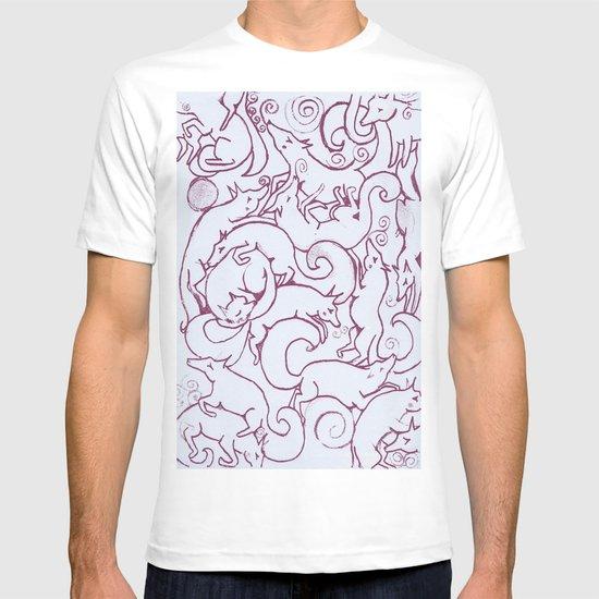 Fox Pattern Screen Print T-shirt
