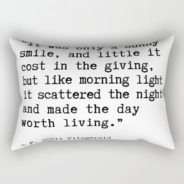 F. Scott Fitzgerald quote, It was only a sunny smile Rectangular Pillow