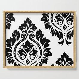 Decorative Damask Art I Black on White Serving Tray