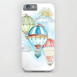 Hot air balloon watercolor art print. iPhone Case