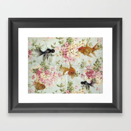 Gold fish wall paper Framed Art Print