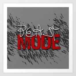 Beast Mode / Red and White Art Print
