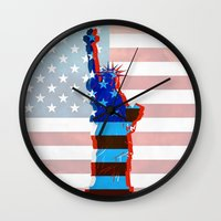 patriots Wall Clocks featuring statue of liberty / USA by Marta Olga Klara
