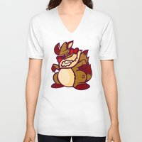 rocket raccoon V-neck T-shirts featuring Rabid Raccoon by Artistic Dyslexia