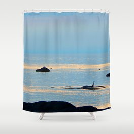 Dog Rock and the Great Blue Heron Shower Curtain