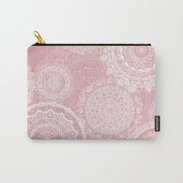 Mandala rain white on old rose Carry-All Pouch