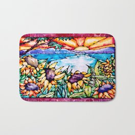 Summer Sunflowers - Stained Glass Watercolor Bath Mat