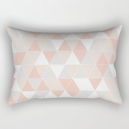Peach & Gray Geometric Art Rectangular Pillow