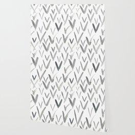 Watercolor V's - Grey Gray Wallpaper