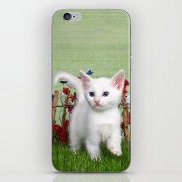 White Kitten with Blue Eyes in Flower Garden iPhone Skin
