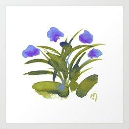 Atom Flowers #34 in purple and green Art Print