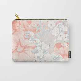 Coral And Grey Petunias Carry-All Pouch