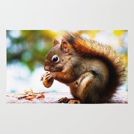 Red Squirrel Thanksgiving Rug