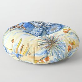 Sea Turtle - Bottom of the Sea Watercolor Painting Floor Pillow