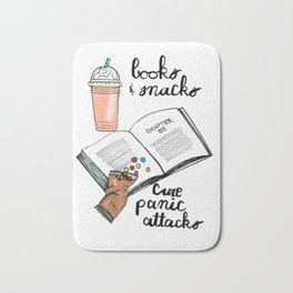 Books & snacks cure panic attacks Bath Mat