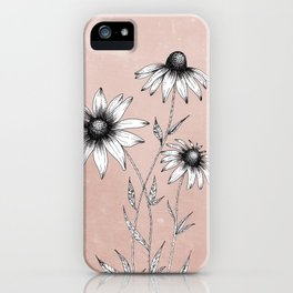 Wildflowers Ink Drawing | Dusty Pink iPhone Case