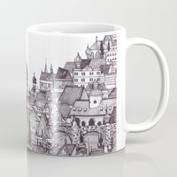 prague Mugs featuring Prague by Justine Lecouffe