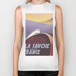 Savoy France train poster Biker Tank