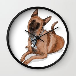 Kella, the Belgian Malinois in Blue Wall Clock
