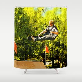 Flying High on Skateboard Ramp at the Park Shower Curtain