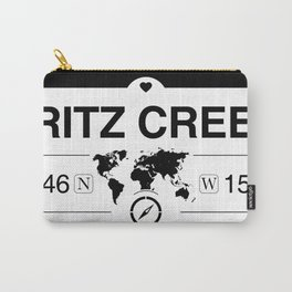 Fritz Creek Alaska Map GPS Coordinates Artwork with Compass Carry-All Pouch